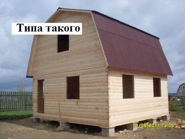 Строительство дома из бруса 8 на 6 с мансардой своими руками 35