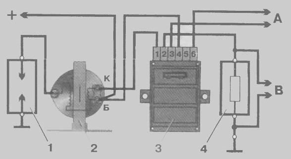 ...2 катушка зажигания; 3 - коммутатор; 4 - резистор 0 01 Ом =1%, не менее 20 Вт, А - к генератору прямоугольных...