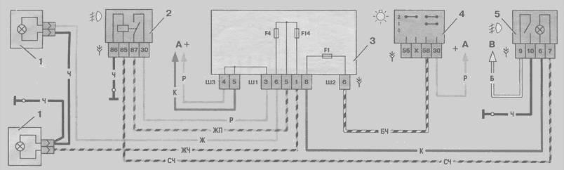 Освещения схема салона и багажника схема включения наружного освещения 1 выключателя Независимо от выключателя...