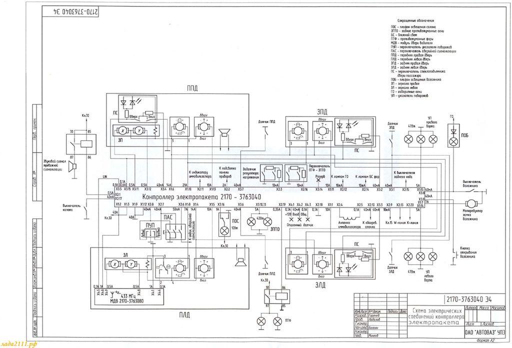схема электропакета Приоры