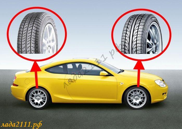 Разный рисунок протектора на одной оси автомобиля