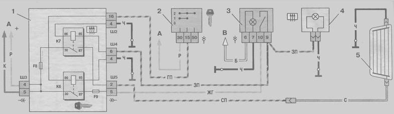 Схема системы обогрева заднего