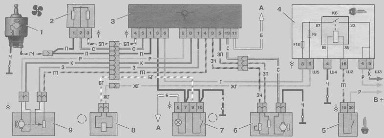 отопителем ваз 2110, Схема