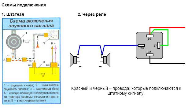 схема подключения гудков Волги