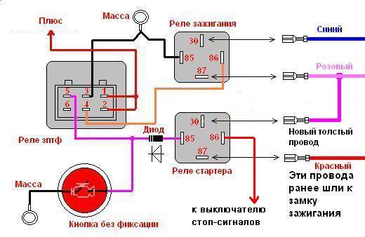 Схема кнопки света нива