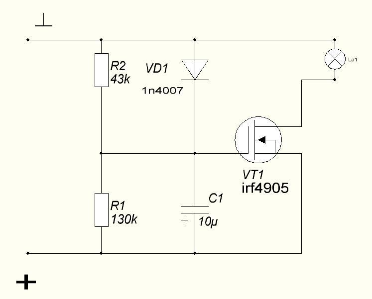 Схема плавного включения и выключения лампы накаливания