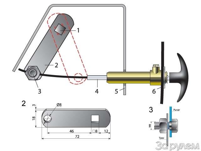 Управление заслонкой отопителя ВАЗ 2110 с помощью тросика.